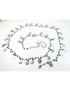 chaine de taille argenté et perles noires