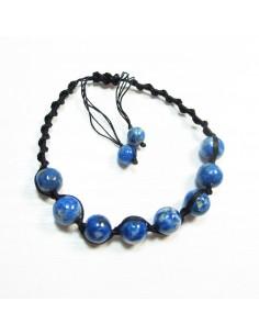 bracelet lapis lazuli et noeud coulissant