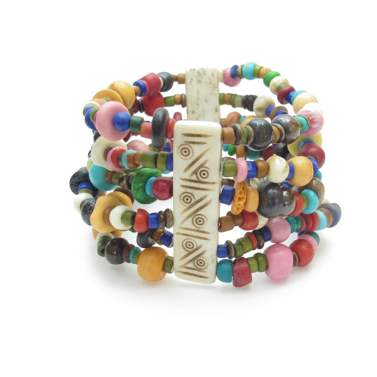 bracelet large en perles color es bijoux fantaisie et bracelets. Black Bedroom Furniture Sets. Home Design Ideas