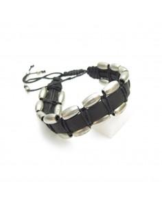 bracelet en cuir et métal argenté