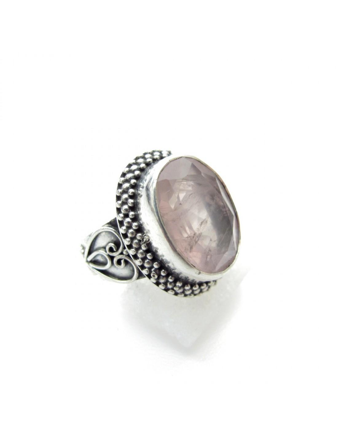 Bijoux Argent Quartz Rose : Bague argent cisel?e et quartz rose taill? bijoux