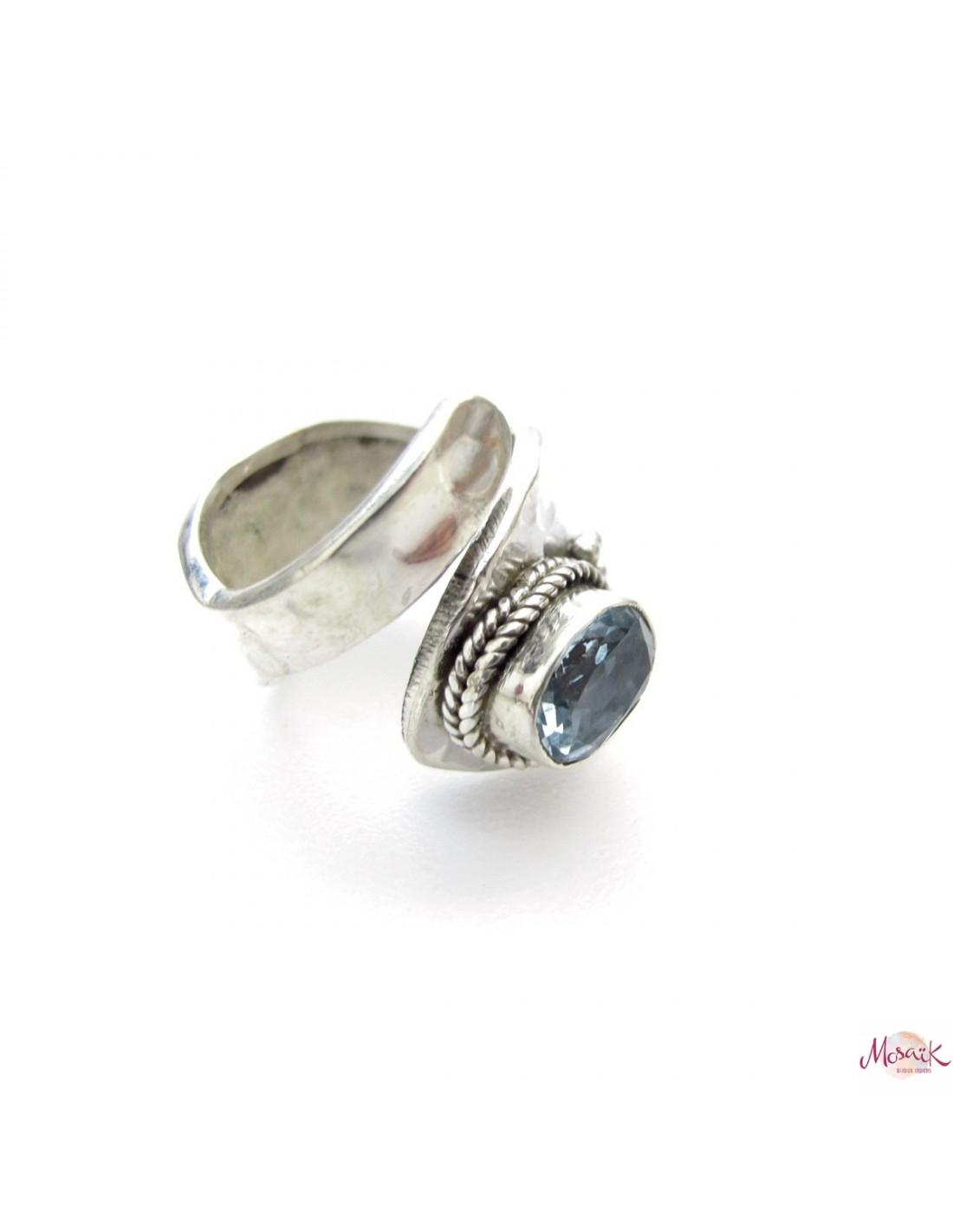 bague argent martel r glable et topaze bleu bijoux taille ajustable. Black Bedroom Furniture Sets. Home Design Ideas