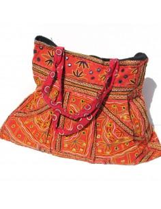 large sac orange en tissus brodés