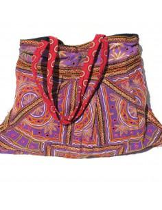 large sac  violet en tissus brodés