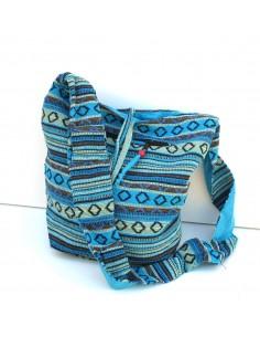 sac en coton rayé bleu