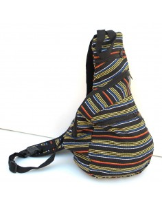 sac en coton rayé noir