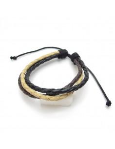 bracelet cuir tressé trois liens