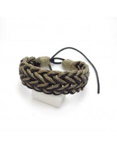 bracelet cuir et fil