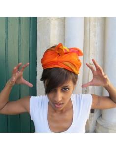 Foulard en soie jaune, marron,orange 2