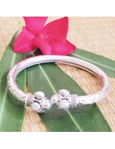 Bracelet jonc argent et perle
