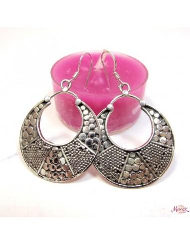 Boucles d'oreilles ethniques en argent -  Mosaik bijoux indiens
