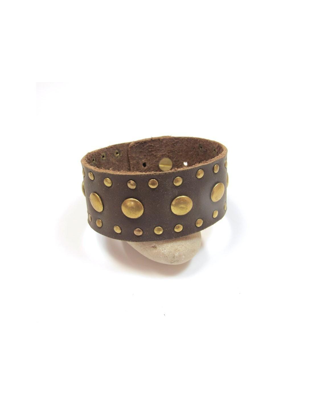 bracelet large cuir marron bijoux en cuir bf14. Black Bedroom Furniture Sets. Home Design Ideas