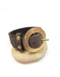 "Bracelet ""ceinture"" cuir marron"