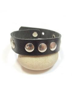 Bracelet cuir noir et métal