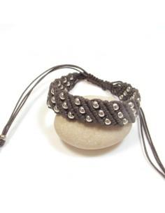Braceleten coton ciré marron et perles argentées