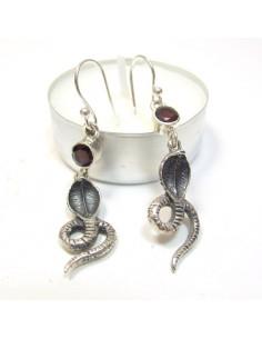 Boucles d'oreilles argent cobra et grenat
