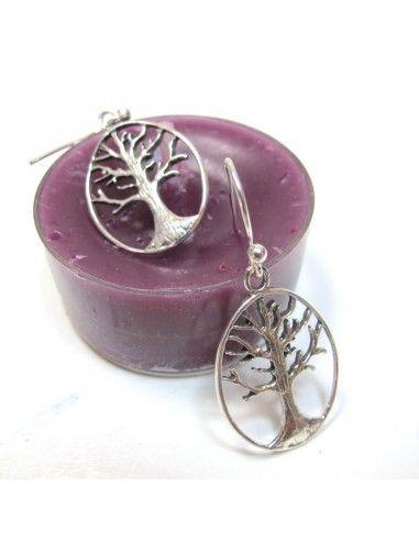 Boucles d'oreilles ovales arbre de vie
