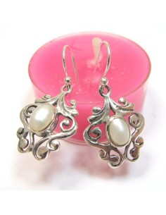 Boucles d'oreilles argent ethniques et perles - Mosaik bijoux indiens