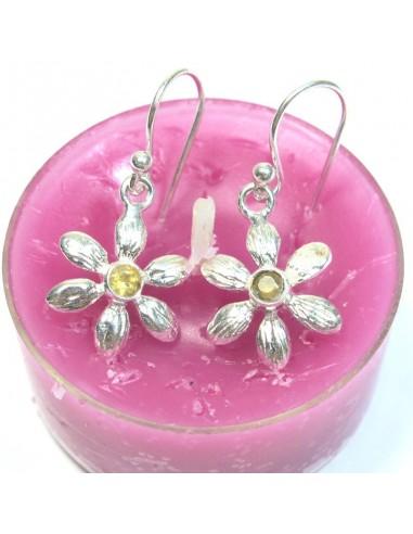 Boucles d'oreilles fleur en argent