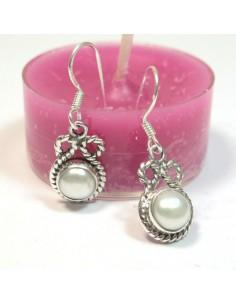Boucles argent et perles