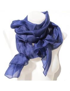 foulard en soie bleu-marine