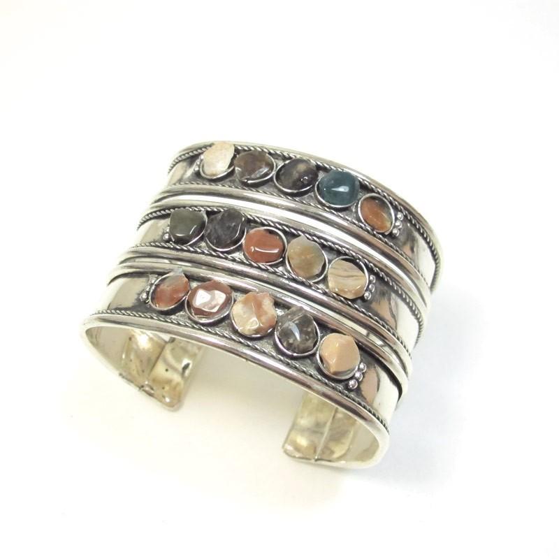 bracelet métal argenté et agates