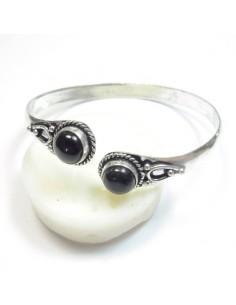 Bracelet métal argenté et onyx