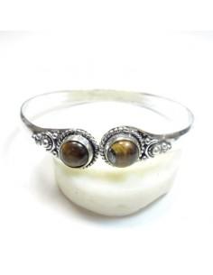 Bracelet métal argenté et oeil de tigre