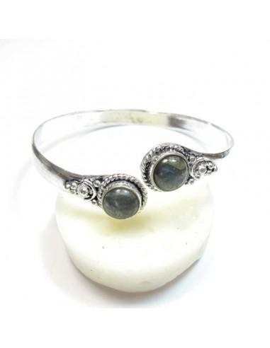 Bracelet métal argenté et labradorite