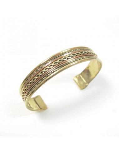 Bracelet mixte ajustable laiton et cuivre - Mosaik bijoux indiens