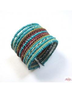 bracelet fantaisie large en perles turquoises