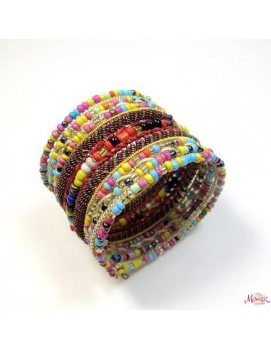 bracelet large à perles colorées