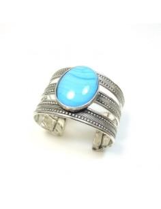 gros bracelet métal argenté et perle turquoise