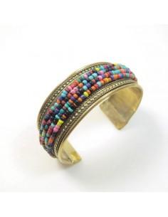 bracelet laiton et perles colorées