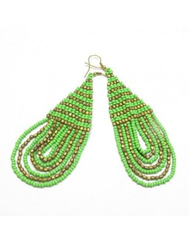 Boucles d'oreilles perles vertes et dorées