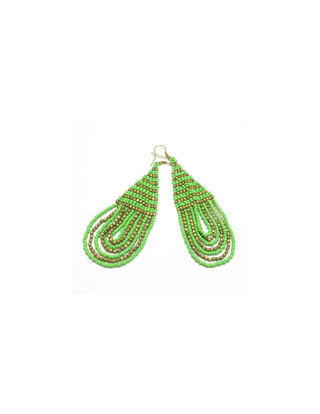 boucles d 39 oreilles vertes et dor es bijoux fantaisie en perles bo70. Black Bedroom Furniture Sets. Home Design Ideas