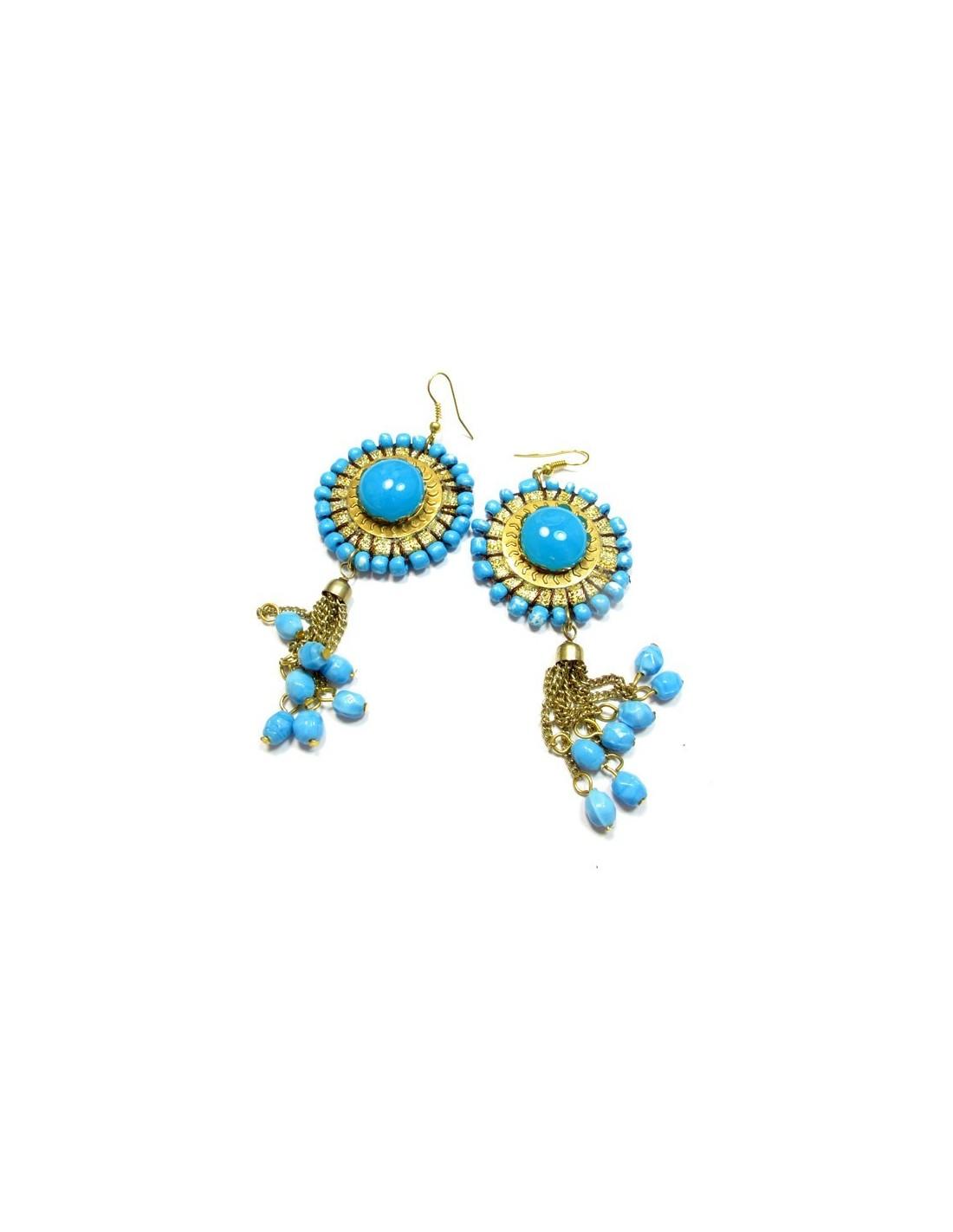 Pendantes bleues grosses boucles d 39 oreilles bo74 - Grosses boucles d oreilles pendantes ...