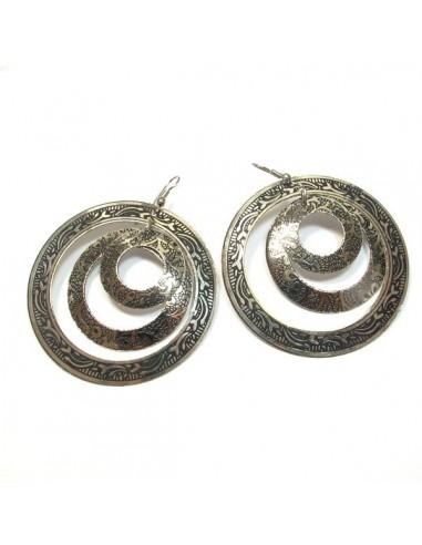 Créoles 3 ronds métal argenté