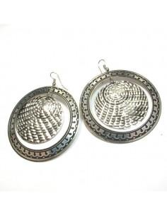 Boucles d'oreilles doubles ronds métal argenté