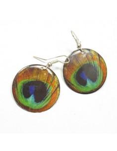 Boucles d'oreilles plume de paon - Mosaik bijoux indiens