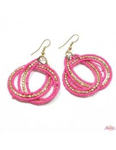 Boucles d'oreilles roses et dorées