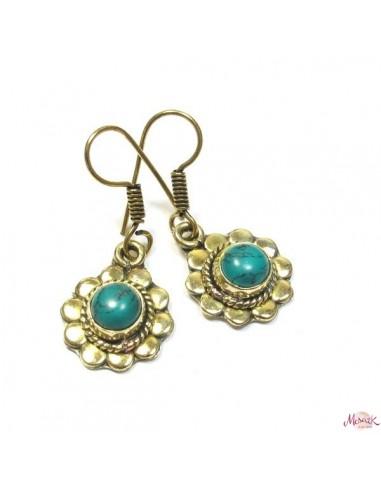 Boucles d'oreilles laiton et turquoise
