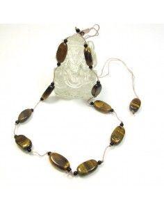 Collier en œil de tigre et fil de coton - Mosaik bijoux indiens