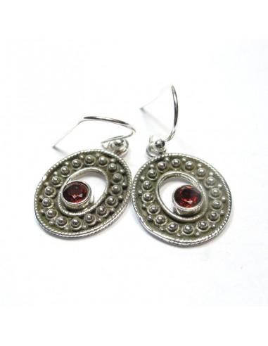 Boucles d'oreilles argent ethniques et grenat taillé - Mosaik bijoux indiens