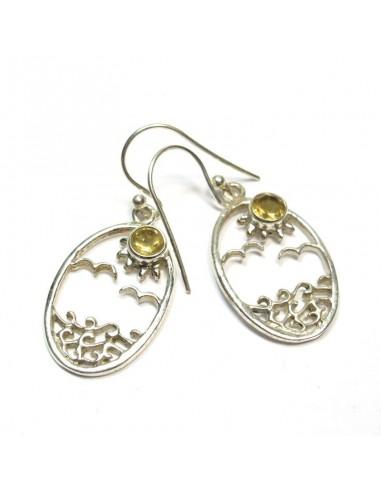 Boucles d'oreilles argent et citrine taillées - Mosaik bijoux indiens