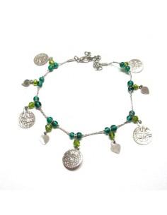 chaine de cheville à pièces et perles turquoises