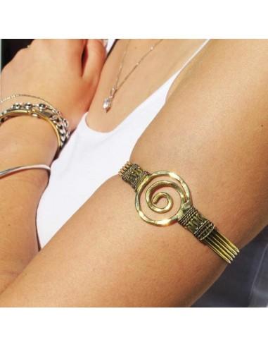 bracelet de bras spirale doré