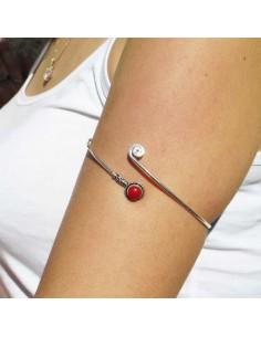 bracelet de bras argenté et labradorite