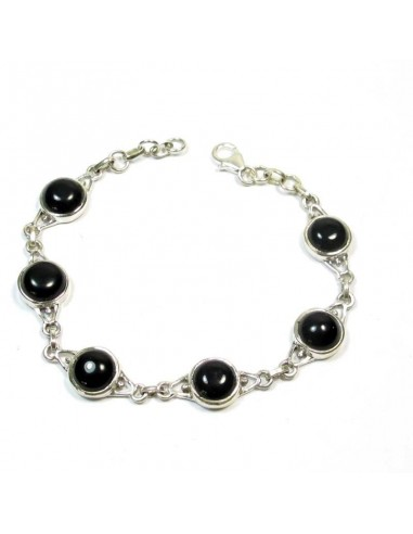 Bracelet argent et onyx noir