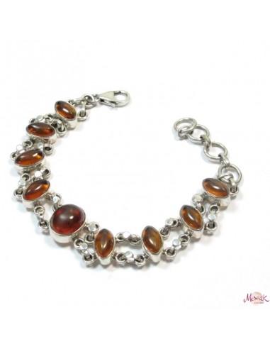 Bracelet argent souple et ambre - Mosaik  bijoux indiens